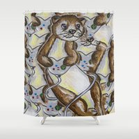 video games Shower Curtains featuring Otter Games by Animal Camp