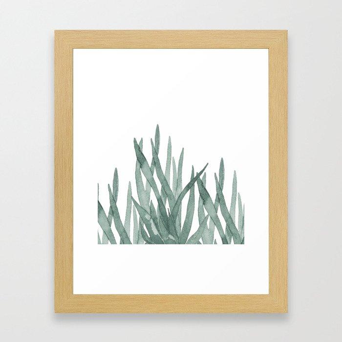 Watercolor snake plants Framed Art Print