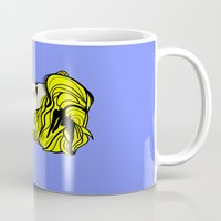 lichtenstein Mugs featuring Robyn - Roy Lichtenstein Inspired Portrait 2 by Alli Vanes