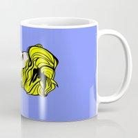 lichtenstein Mugs featuring Robyn - Roy Lichtenstein Inspired Portrait 2 by Alli