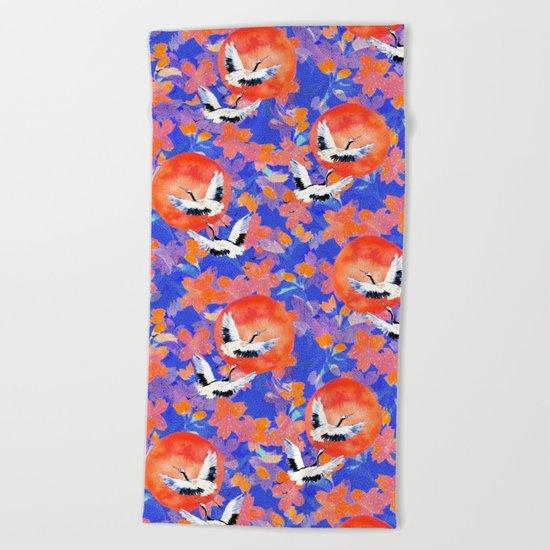 Japanese Garden: Cranes, Sun and Blossoms LT Beach Towel
