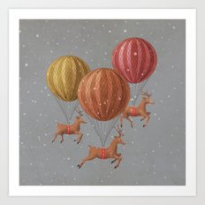 Flight of the Deer - colour option Art Print