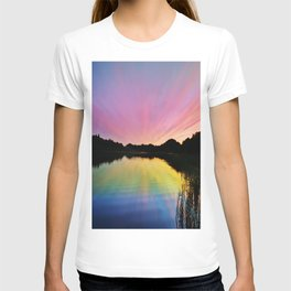 Pastel Rainbow Sunset Lake T-shirt