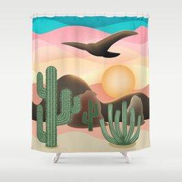 3D Desert Sunset Shower Curtain