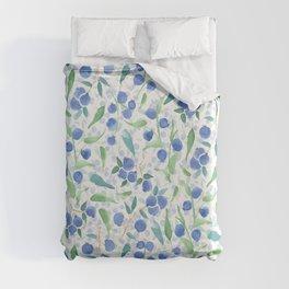 Watercolor Blueberries Duvet Cover