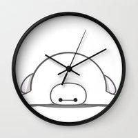 baymax Wall Clocks featuring baymax by Eric Si
