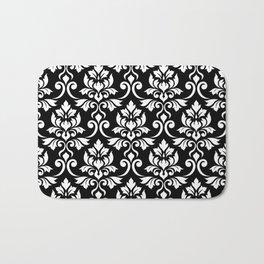 Feuille Damask Pattern White on Black Bath Mat