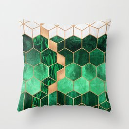 Emerald Cubes And Hexagons Throw Pillow
