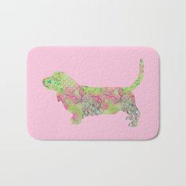 Bassett Hound Vintage Floral Pattern Pink Green Mint Shabby Chic Bath Mat