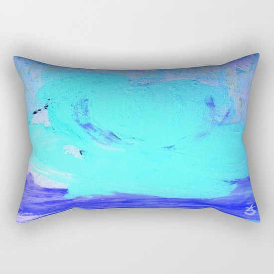Neon Winter Rose, Abstract In Nature, Ice Blue Rectangular Pillow