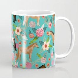 Horses floral horse breeds farm animal pets Coffee Mug