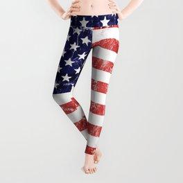 American Grunge Flag Leggings
