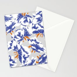 Japanese peonies pattern - blue and orange Stationery Cards