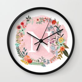 Flower Wreath with Personalized Monogram Initial Letter N on Pink Watercolor Paper Texture Artwork Wall Clock