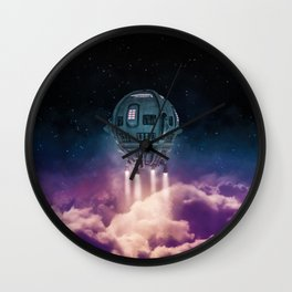 Out of the atmosphere / 3D render of spaceship rising above clouds Wall Clock