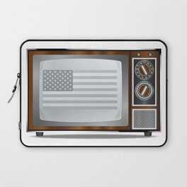 Patriotic Black And White Television Laptop Sleeve