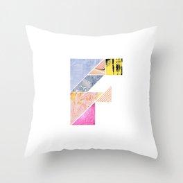 Collaged Tangram Alphabet - F Throw Pillow