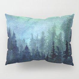 Watercolor Galaxy Nebula Northern Lights Painting Pillow Sham