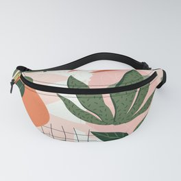 Abstract Orange Aesthetic Floral Pattern Fanny Pack