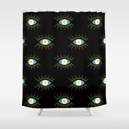 Teal Evil Eye on Black Small Pattern Shower Curtain