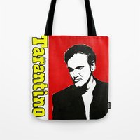 tarantino Tote Bags featuring Quentin Tarantino in Color by Carolyn Campbell