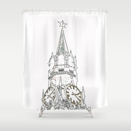 Kremlin Chimes- white Shower Curtain