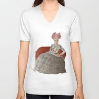 sofa V-neck T-shirts featuring woman in a sofa by Rosa Brualla