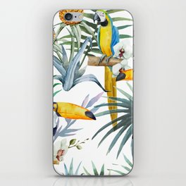 Big Tropical Pattern Toucans Parrot Pineapples iPhone Skin