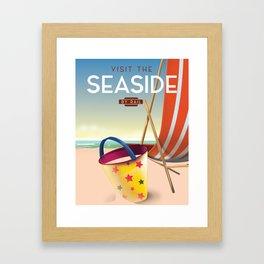 Visit the Seaside vintage travel poster. Framed Art Print