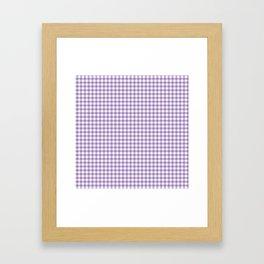 Geometric modern violet white checker stripes pattern Framed Art Print
