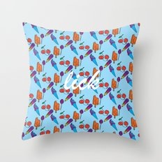Lick | Blue Throw Pillow