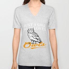Owls Tshirts For Girls Unisex V-Neck