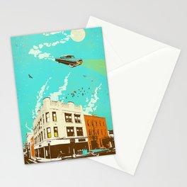 VINTAGE FLYING CAR Stationery Cards