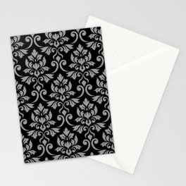 Feuille Damask Pattern Gray on Black Stationery Cards
