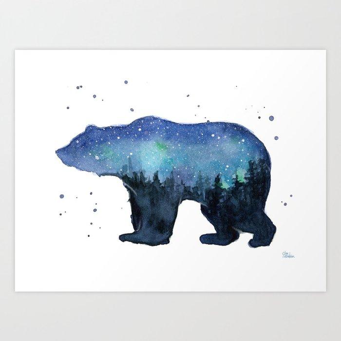 Forest Bear Silhouette Watercolor Galaxy Art Print By Olechka
