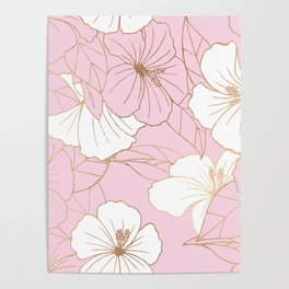Pastel Pink & Gold Hibiscus Floral Poster