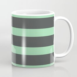 Pastel Green Stripes on Gray Background Coffee Mug