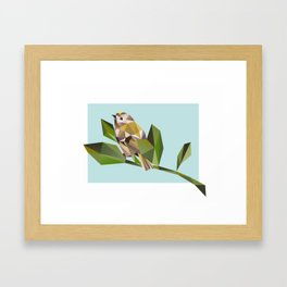 Cute Geometric Goldcrests Pattern Framed Art Print