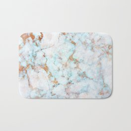 Soft Whites, Aquas and Blush of Pink and Rose Gold Veins Marble Bath Mat