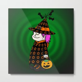 Little Trick-O-Treat Witch Metal Print