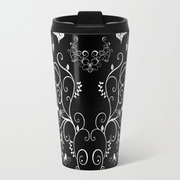 Abstract floral ornament in white color Travel Mug