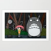 tim burton Art Prints featuring Tim Burton Totoro by Grace Isabel