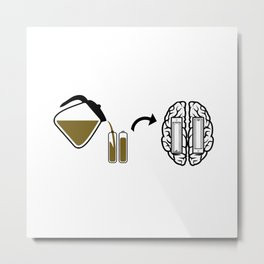 My brain runs on coffee Metal Print