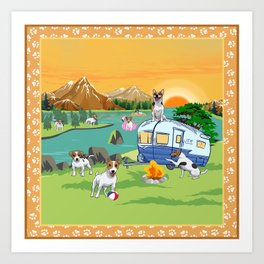 Dog camping campsite Art Print
