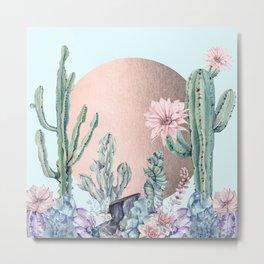 Desert Sun + Gemstones Bronze Turquoise Metal Print