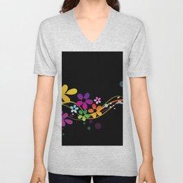 Cut Paper Flowers and Ferns on Black  15K Unisex V-Neck
