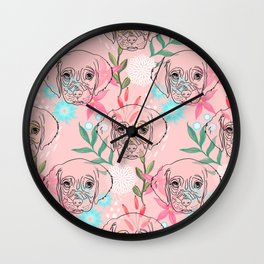 Cute Puppy Dog and Flowers Pink Creative Art Wall Clock