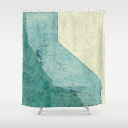 California State Map Blue Vintage Shower Curtain