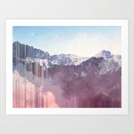Glitched Mountains Art Print