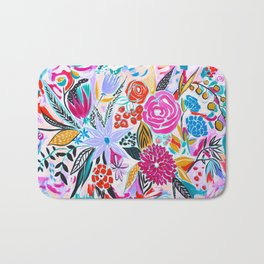 Fuchsia Teal Black and Gold Floral Bath Mat